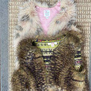 girls furry vest bundle